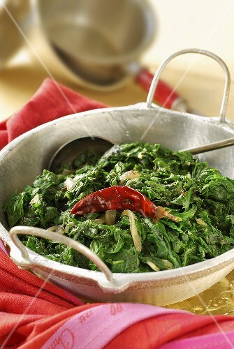 Indian-style spinach with chillies