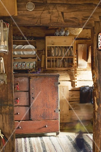 Rustic kitchen in a log cabin