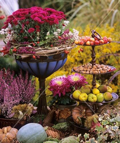 Herbstdeko mit Blumen, Kürbissen, Zieräpfeln und