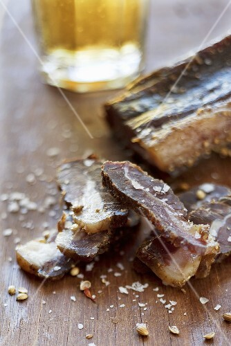 Biltong (dried meat, South Africa), sliced