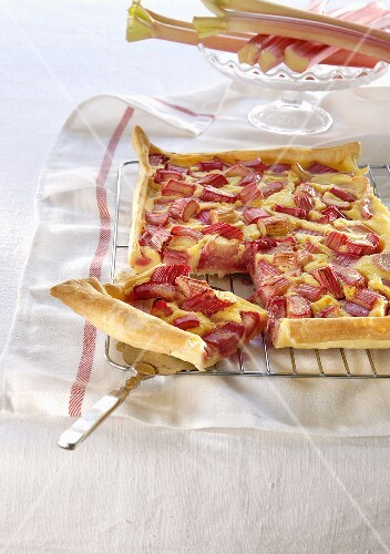 Rhubarb tart with pieces removed