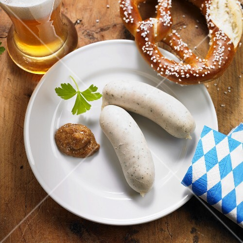 Weisswurst (Bavarian sausages), pretzel and wheat beer