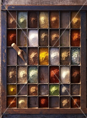 A seedling tray filled with various spices, seen from above