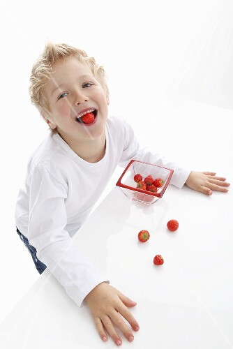 A little boy eating fresh strawberries