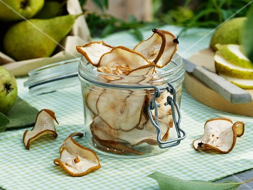 Dried pear slices in a jar