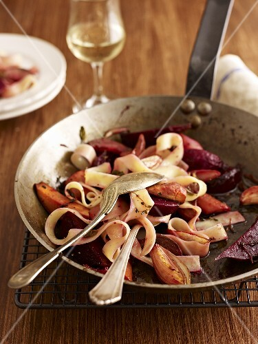 Pappardelle with braised vegetables