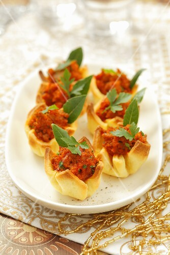 Dough parcels filled with bolognese
