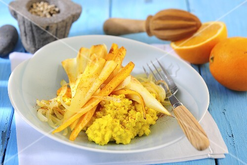 Parsnips in orange sauce with curried millet
