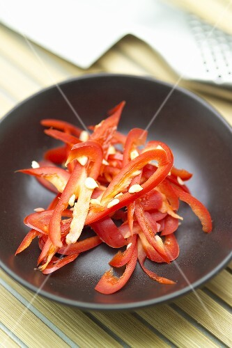 Red peppers cut into strips