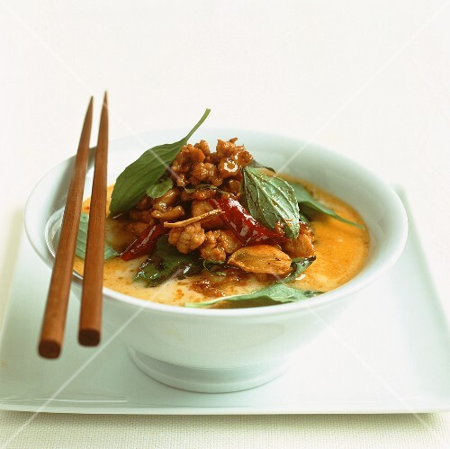 Yellow chicken coconut curry with Thai basil