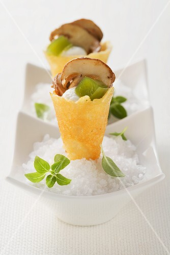 Parmesan bags with porcini mushrooms buy images stockfood for Dictionary canape
