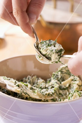 Spinach and quark gnoccis being made