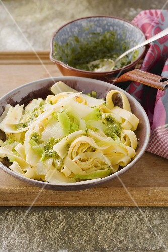 Tagliatelle with parsnips and a cabbage medley