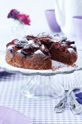 Plum cake on a cake stand