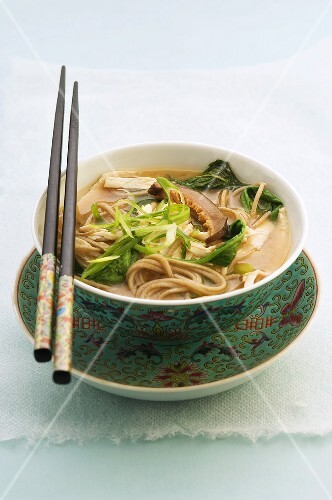 Miso soup with noodles and chicken (Japan)