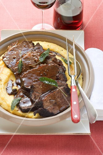 Beef in Barolo with polenta