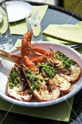 Grilled lobster with coriander salsa