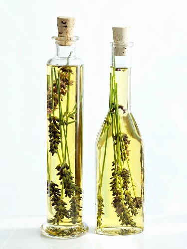 Two bottles of olive oil with lavender