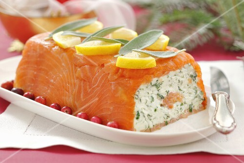 Smoked salmon terrine with soft cheese and herbs (Christmas)