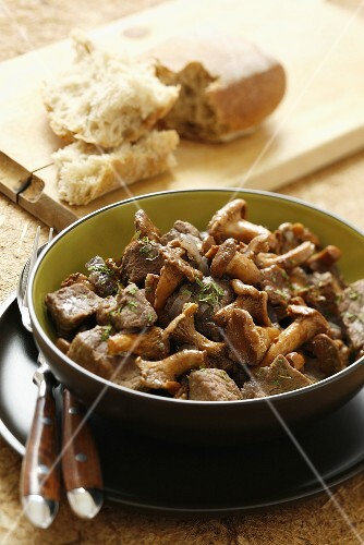 Beef ragout with chanterelles