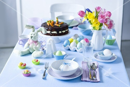 A table laid for an Easter breakfast