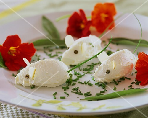 Mascarpone mice, chives and nasturtiums