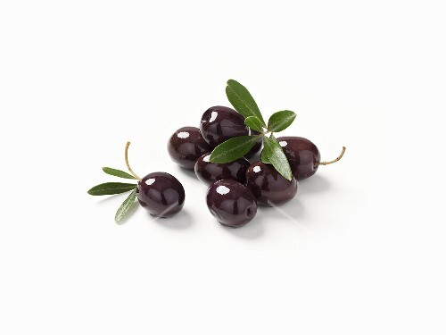 Black olives and olive leaves