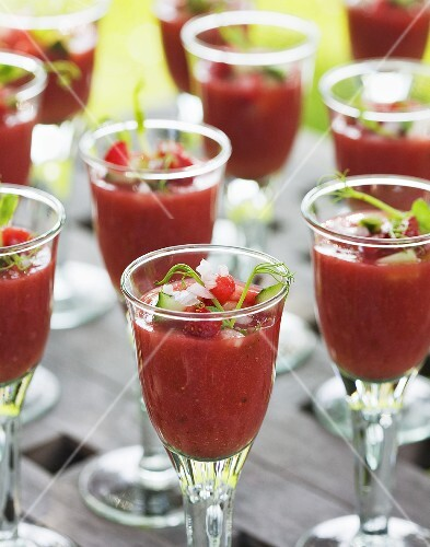 Strawberry and cucumber gazpacho in glasses
