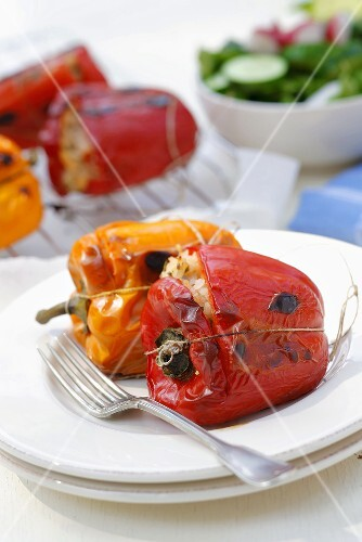 Grilled peppers stuffed with rice