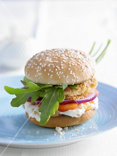 Fish burger with ginger mayonnaise
