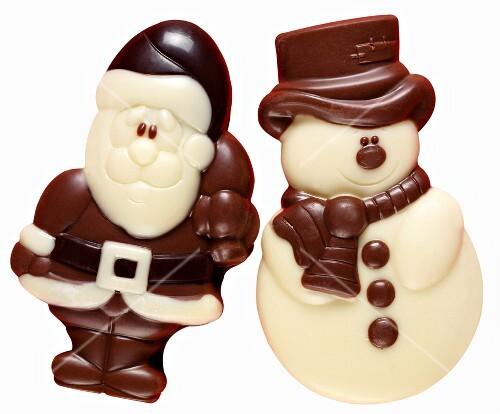 weihnachtsmann und schneemann aus schokolade bild kaufen 410143 stockfood. Black Bedroom Furniture Sets. Home Design Ideas