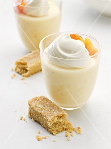 Blood orange posset with whipped cream and shortbread