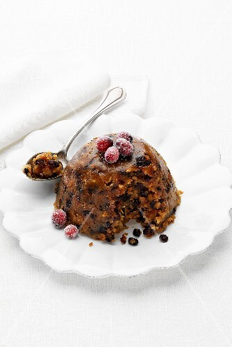 Christmas pudding with cranberries