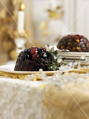 Christmas Pudding with cherries and brandy
