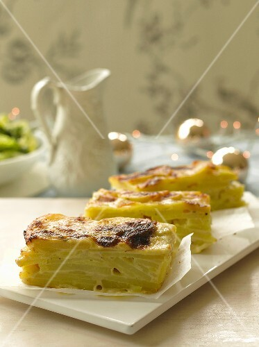 Slices of potato gratin