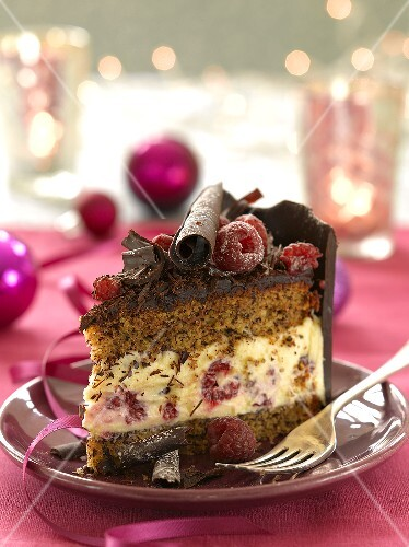 A piece of chocolate cake with raspberries