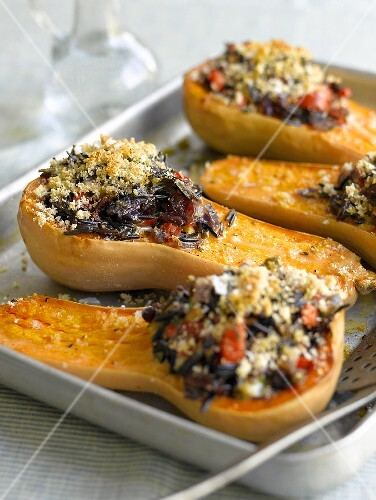 Roasted butternet squash glazed with honey and filled with wild rice
