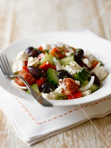 Greek salad with goat's cheese and olives