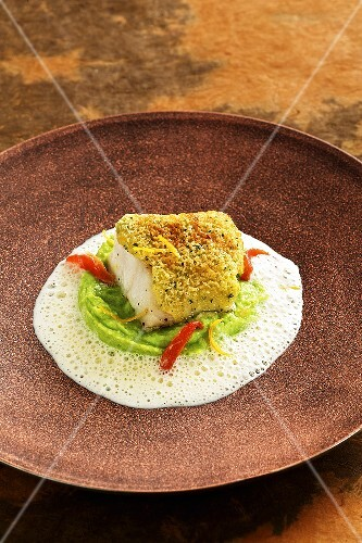 Cod with a verbena crust and mushy peas