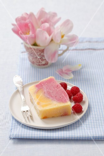 Peach and raspberry semifreddo