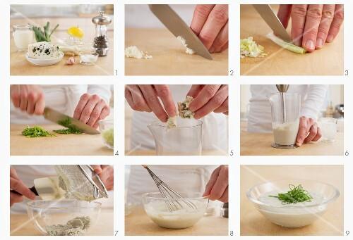 Blue cheese dip being prepared