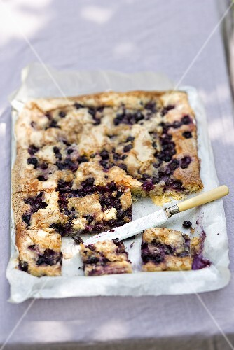 Blueberry and butter tray bake cake