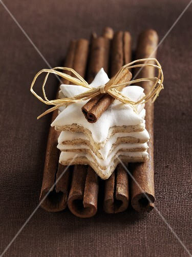 Cinnamon stars on cinnamon sticks