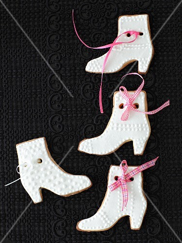 Shortbread biscuits (boots) with white icing