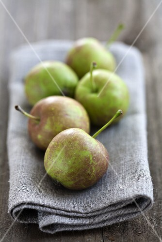 Five orchard apples on a napkin