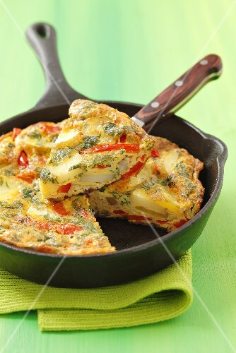 Potato tortilla with pepper