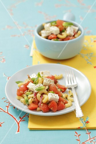 Pasta salad with watermelon and feta