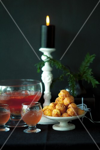 Grapefruit punch and cheese profiteroles for Christmas