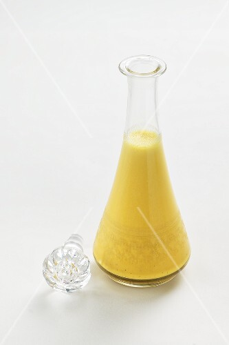 Egg liqueur in a glass carafe
