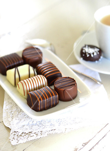 Assortment of chocolate bites for coffee